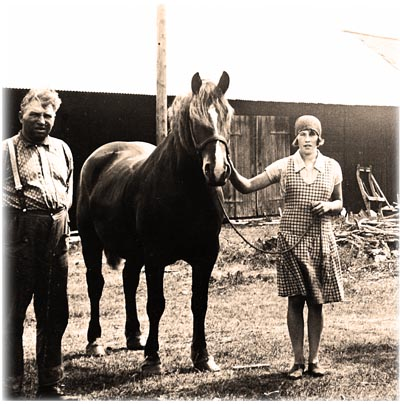 Adolescent Margit Jansson working at the farm